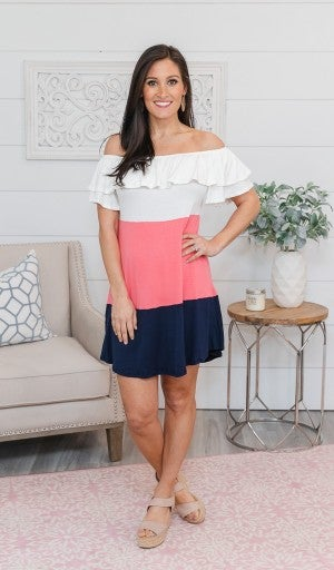 Trendy & Terrific Off Shoulder Dress - Ivory, Navy