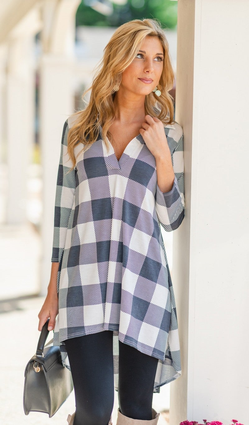 Back Together Tunic, Grey/White