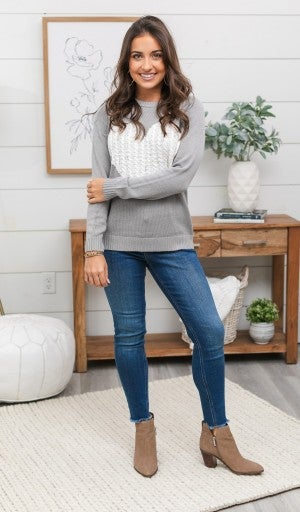 Open Your Heart Sweater, Grey/Ivory Heart