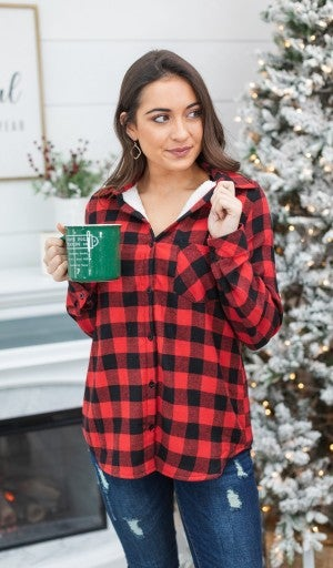 Fave Buffalo Check Sherpa Lined Flannel, Red