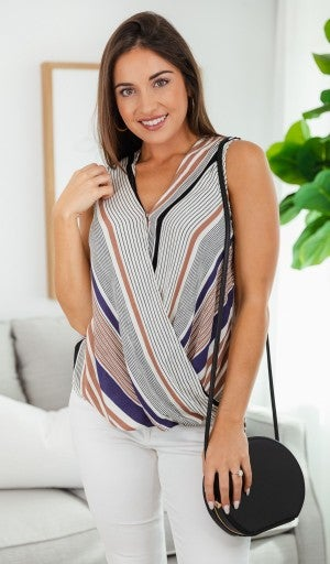 Easy Life  Striped Top, Taupe