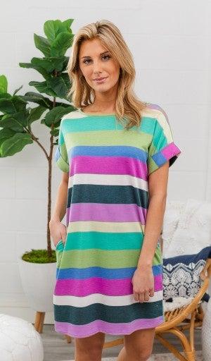 Sipping On Sunshine Dress, Multi Stripe