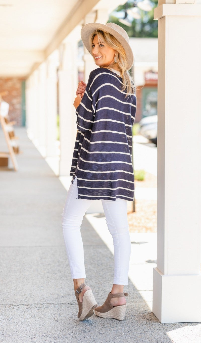 Timelessly Fee Sweater, Navy/Oatmeal Stripe