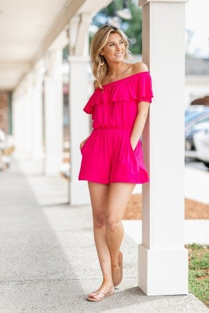 Getaway Off The Shoulder Romper, Pink