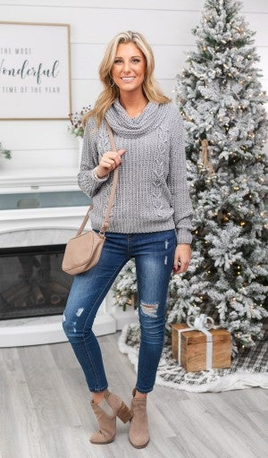 In The Clouds Chunky Knit Sweater, Grey