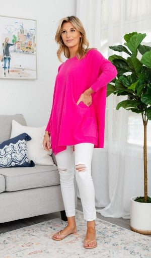 Brighter Days Sweater, Hot Pink