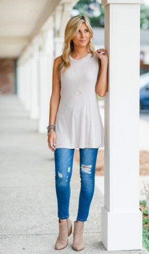 All The Layers Ribbed Tunic/Tank , Taupe