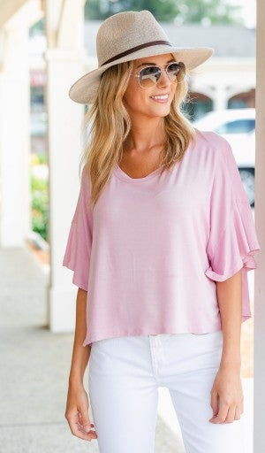 Just A Flutter Top- White, Pink, or Grey