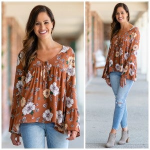 Falling For This Top, Rust Floral