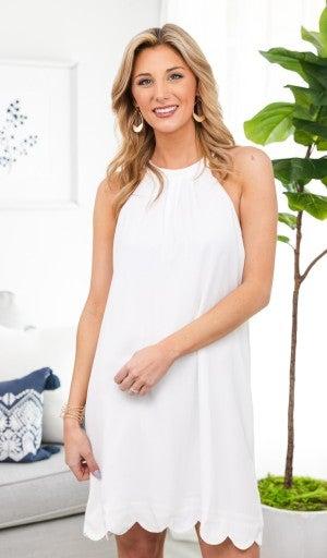 Scalloped For Summer Dress, Ivory or Cobalt
