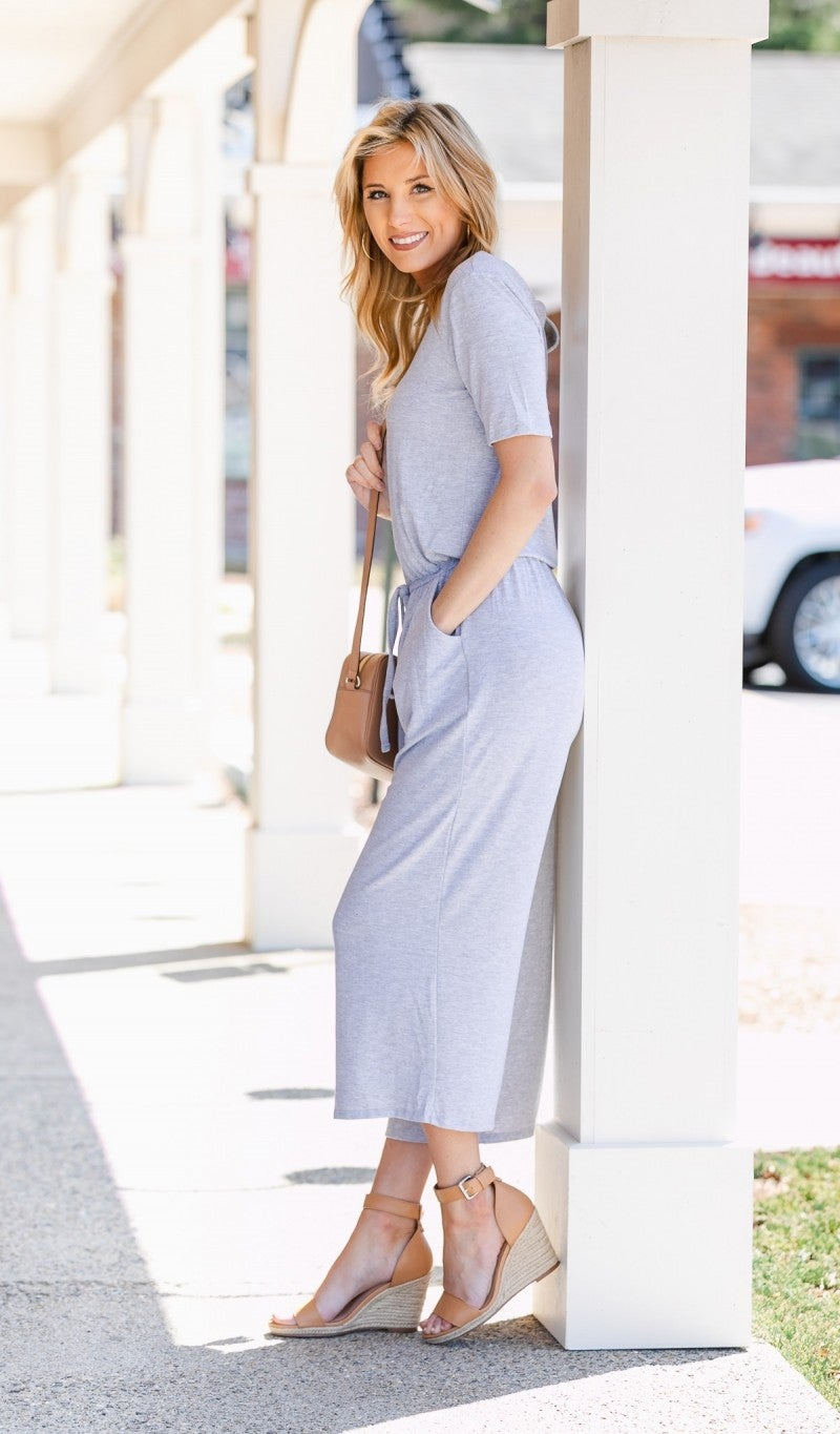 Sweet Summertime Jumpsuit, Heathered Grey