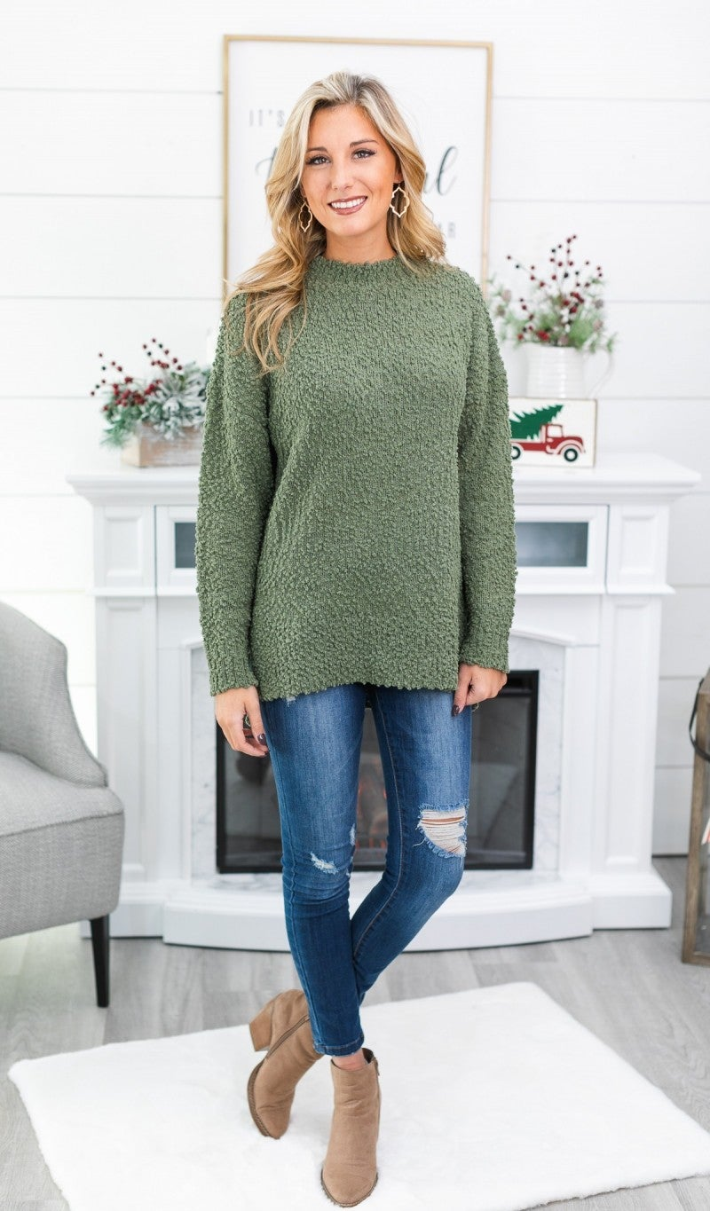 Just Another Day Sweater, Light Olive *Final Sale*