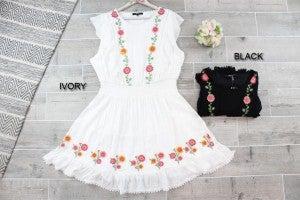 Floral Embroidered Flutter Dress
