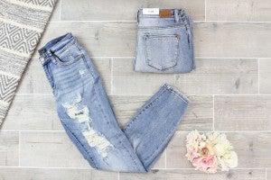 Medium Wash Distressed Boyfriend Jeans