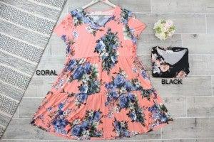 Rose Patterned Tiered V Neck Dress