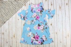 Floral V-Neck Cold Shoulder Dress