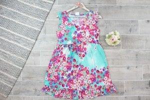 Adorable Floral Ruffle Sleeveless Dress