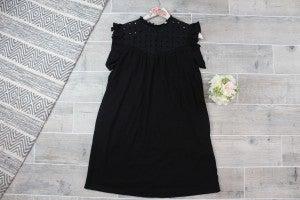 Lace Yoke Detail Mini Dress