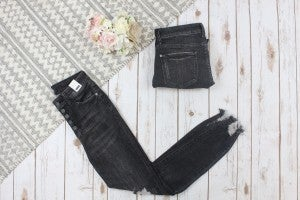 Black Five Button Distressed Judy Blue Skinny Jean