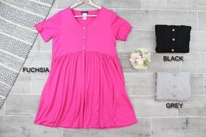 Basic Button Dress with Pockets