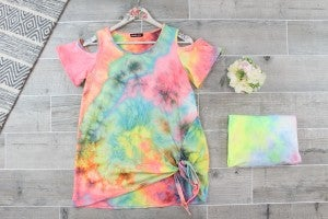 Got My Eye On You Tie Dye Cold Shoulder Top