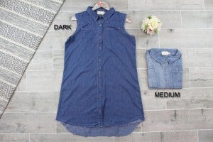 Faux Denim Button Down Dress