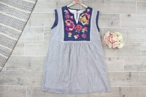 Gorgeous Embroidered Striped Dress