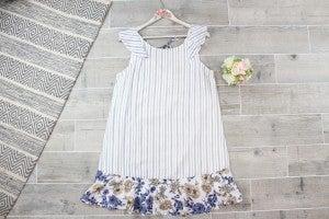 Stripe Shift Dress with Floral Contrast