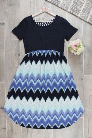 Blue Chevron Midi Dress