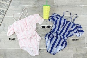 Adorable Striped Off Shoulder One Piece