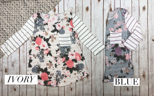 Floral and Striped 3/4 Length Sleeve Top
