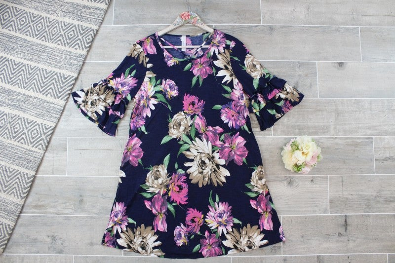 Sassy Floral Dress with Ruffle Sleeves