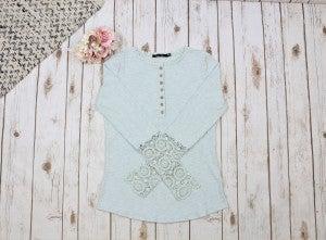 Crochet Sleeve Button Detail Top