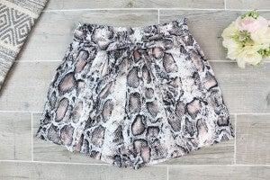 Belted Snake Skin Shorts