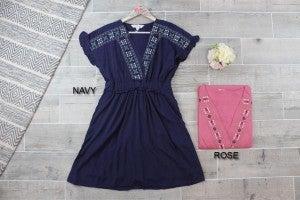 Deep V Neck Embroidered Dress