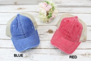 Distressed Ponytail Baseball Cap