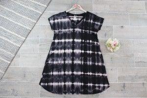 Bleached Striped Tie Dye Dress