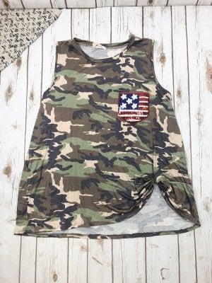 Camo Top with a Patriotic AF Party Pocket