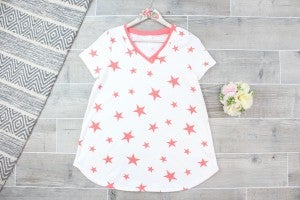 Double Collared V Neck Star Top