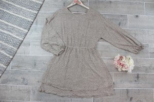 Double Hem Dress with Balloon Sleeves