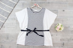 All Tied Up Stripe Contrast Top