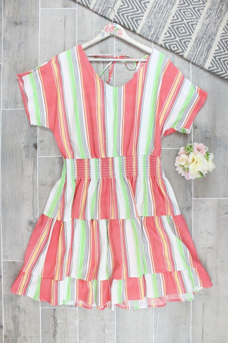 Taco Tuesday Tiered Striped Dress