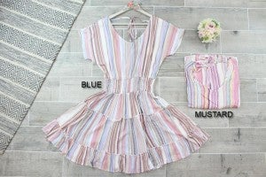 Striped Dress with Smocked Waist and Ruffle Skirt