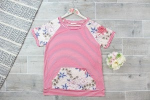 Pin Stripe Jersey Top With Floral Contrast