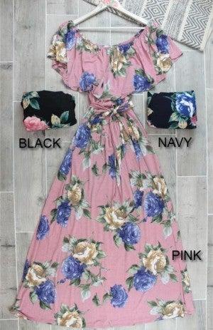 Beautiful Off the Shoulder Floral Maxi Dress