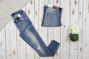 Judy Blue Raw Waistband Distressed Jeans