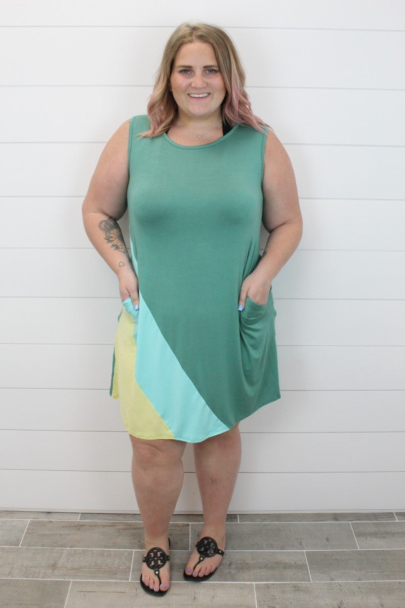 Color Block Tank Dress with Pockets