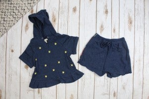 Embroidered Knit Top and Short Set