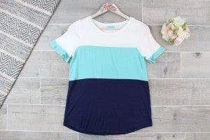 Ocean Blues Color Block Top