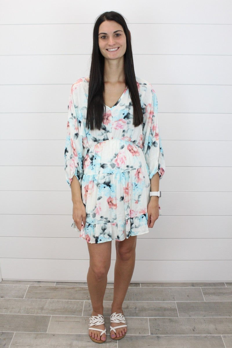Floral Watercolor Dress With Balloon Sleeves